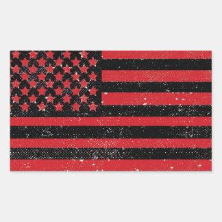 Bandera americana del grunge rojo negro pegatina rectangular