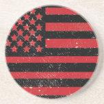 Bandera americana del grunge rojo negro posavasos cerveza