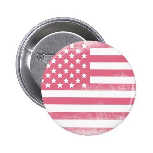 Bandera americana del Grunge rosado de moda Pin Redondo 5 Cm