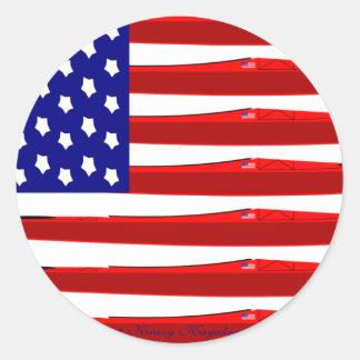 Bandera americana del kajak pegatina redonda