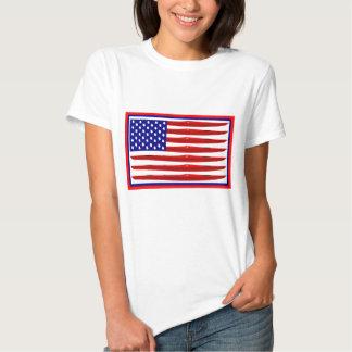 Bandera americana del kajak remera