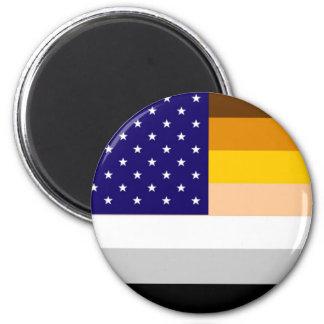 Bandera americana del orgullo del oso imán redondo 5 cm