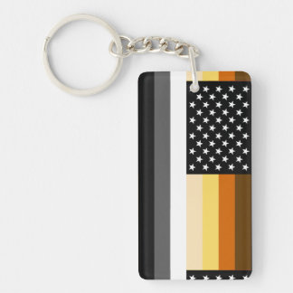 Bandera americana del orgullo del oso llavero rectangular acrílico a doble cara