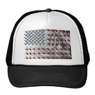 Bandera americana del pájaro en vuelo gorros