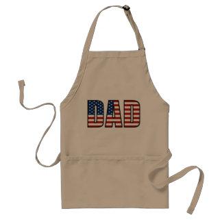 Bandera americana del papá que asa a la parrilla delantal
