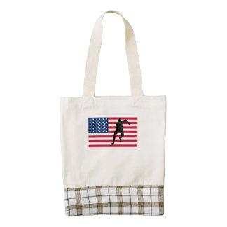 Bandera americana del patinador de la velocidad bolsa tote zazzle HEART