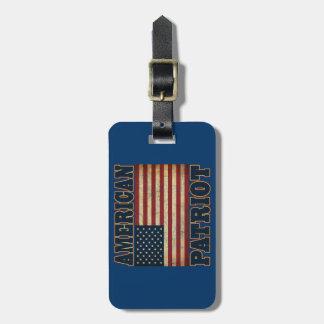 Bandera americana del patriota etiquetas para maletas