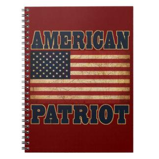 Bandera americana del patriota libro de apuntes