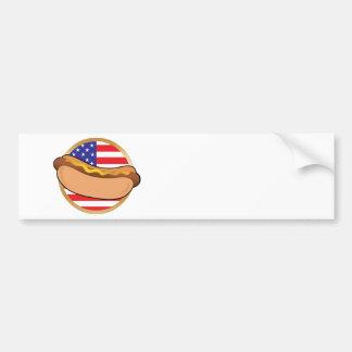 Bandera americana del perrito caliente etiqueta de parachoque