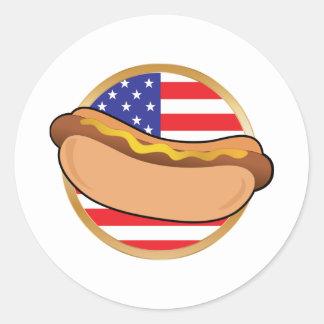 Bandera americana del perrito caliente pegatina redonda