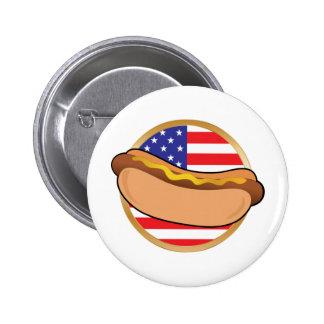 Bandera americana del perrito caliente pin redondo 5 cm