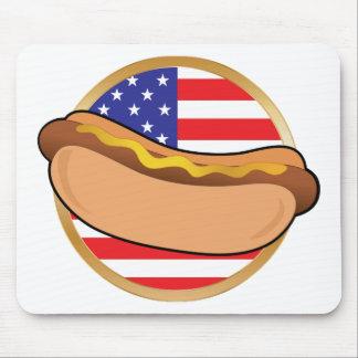 Bandera americana del perrito caliente tapete de ratón