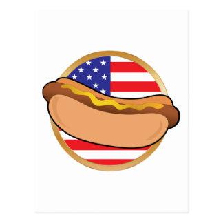 Bandera americana del perrito caliente postal