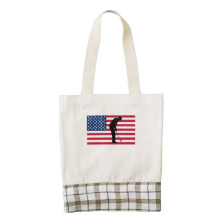 Bandera americana del putt del golf bolsa tote zazzle HEART