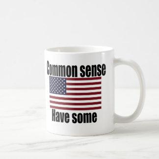 Bandera americana del sentido común taza de café