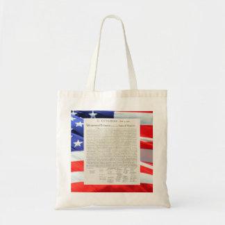 Bandera americana del texto de la Declaración de