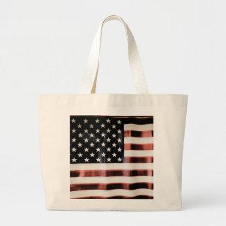 Bandera americana del vintage bolsa tela grande