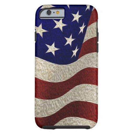 Bandera americana del vintage con efecto funda de iPhone 6 tough