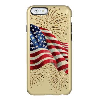 Bandera americana del vintage con los fuegos funda para iPhone 6 plus incipio feather shine