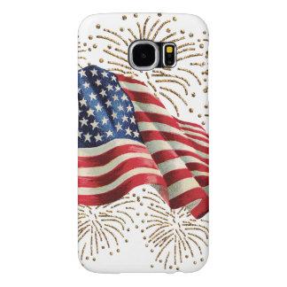 Bandera americana del vintage con los fuegos fundas samsung galaxy s6