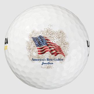 Bandera americana del vintage con los fuegos pack de pelotas de golf