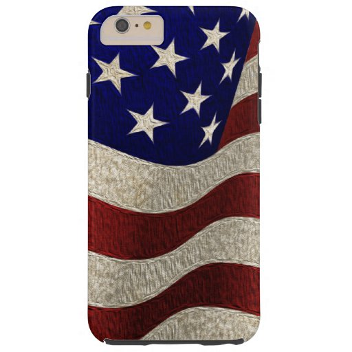 Bandera americana del vintage con textura del funda de iPhone 6 plus tough