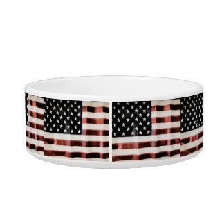 Bandera americana del vintage tazón para comida gato