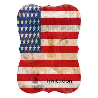 """Bandera americana del vintage del Día de la Invitación 5"""" X 7"""""""