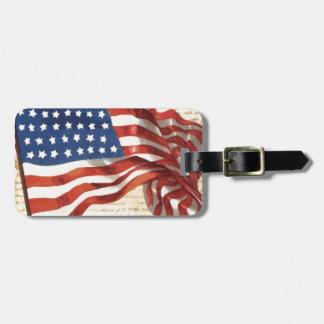 Bandera americana del vintage etiqueta de maleta