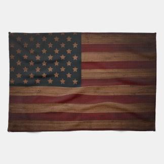 Bandera americana del vintage toalla de cocina