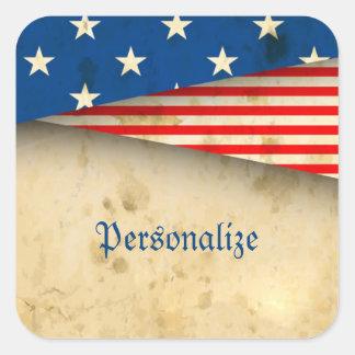 Bandera americana del vintage pegatina cuadrada