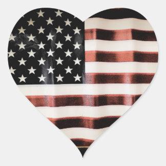 Bandera americana del vintage pegatina en forma de corazón