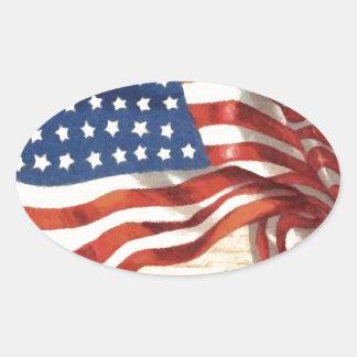 Bandera americana del vintage pegatina ovalada
