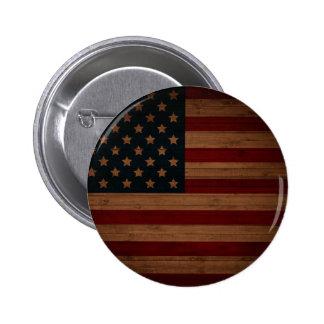 Bandera americana del vintage pin redondo de 2 pulgadas