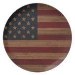 Bandera americana del vintage plato de comida