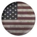Bandera americana del vintage platos para fiestas