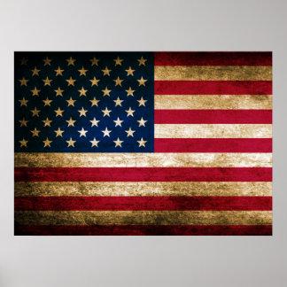 Bandera americana del vintage póster