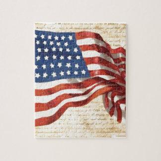 Bandera americana del vintage puzzle