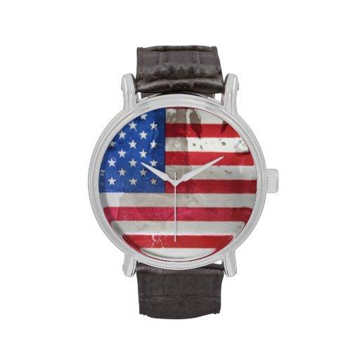 Bandera americana del vintage relojes