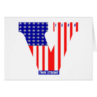bandera americana del vtwin tarjeta de felicitación