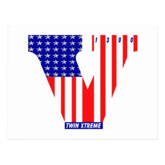 bandera americana del vtwin tarjeta postal