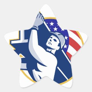 Bandera americana del Yo-Haz del trabajador de Pegatina En Forma De Estrella