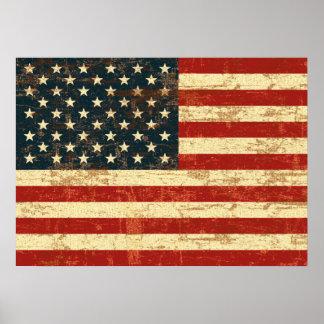 Bandera americana descolorada póster