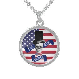 Bandera americana divertida collar de plata de ley