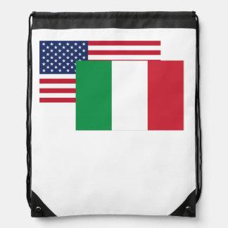 Bandera americana e italiana mochila