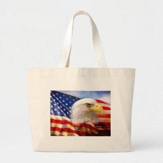 Bandera americana Eagle calvo Bolsa Tela Grande