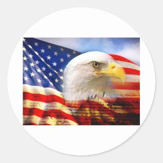 Bandera americana Eagle calvo Etiquetas Redondas