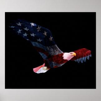 Bandera americana Eagle calvo Póster