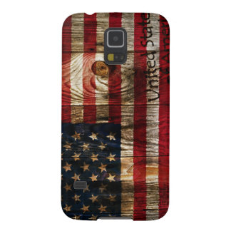 Bandera americana en bord de madera funda de galaxy s5
