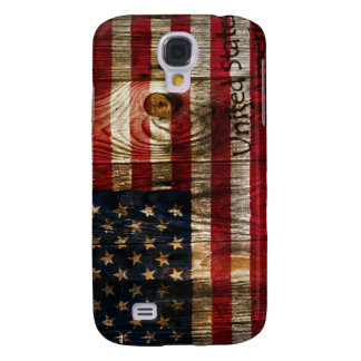Bandera americana en bord de madera funda para galaxy s4